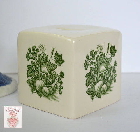 Vintage Green Fruit Motif' Ironstone Transferware Cube Shape Coin Bank Masons