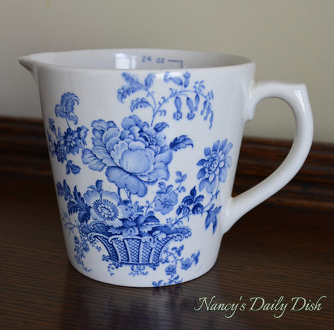 18 oz Blue & White English Transferware Ironstone Measuring Pitcher Charlotte Floral Toile Roses