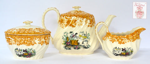 Yellow Black 2 Color Transferware Tea Set Teapot Sugar Creamer Spode Copeland Horses Roses Garden Scenery