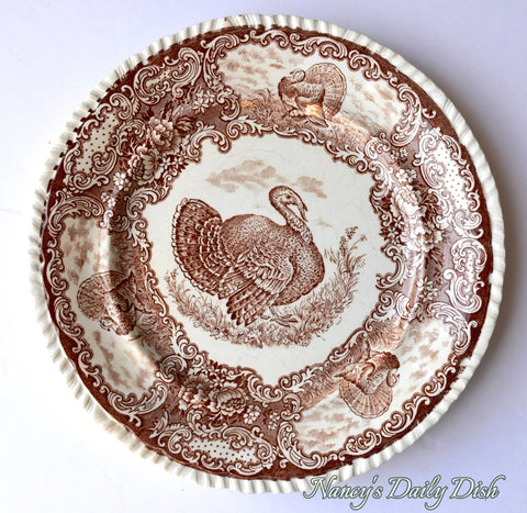 R & M Antique Brown Transferware Staffordshire Thanksgiving Tom Turkey Plate