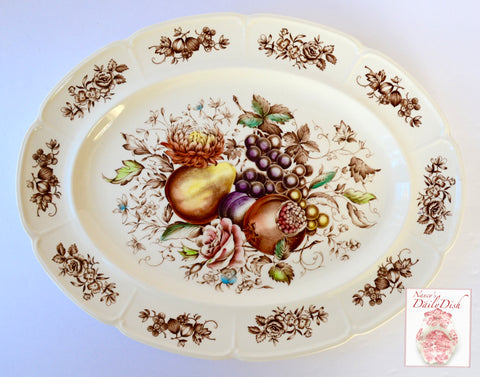 Large Brown Transferware Polychrome Harvest Fruit Roses Windsor Ware Platter - Beautiful Fruits and Autumn Details