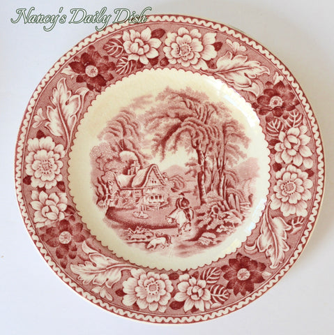 Vintage Red Transferware Plate Hunt Scene  Woodland Cottage Trees Roses