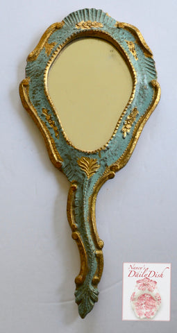 Vintage Carved Italian / French Florentine Hand Held Mirror Wood Painted Aqua with Gold / Gilt