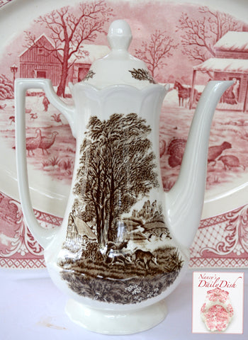 Tall Brown Transferware Coffee Pot or Teapot Cows in Pasture by French Cottage