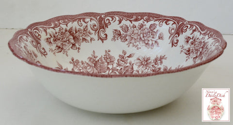 Vintage English Red Toile Pink Transferware Cereal / Salad Bowl Cabbage Roses Daisies