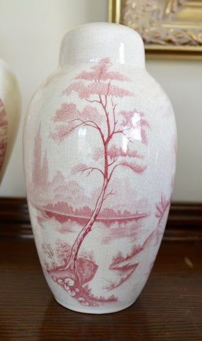 Antique Red English Transferware Staffordshire Lamp Pastoral Landscape Trees Lake Abbey Ruins (pair available)