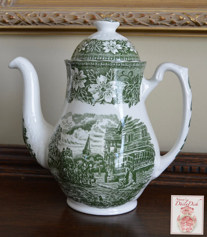 Vintage Green Toile Coffee Pot Teapot Travelers Horses Roses
