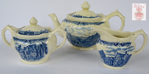 Vintage Tea Set Blue & Cream Transferware Teapot Sugar Creamer Farm Pastoral Scenes After Constable ~ Cottage Farm Cows