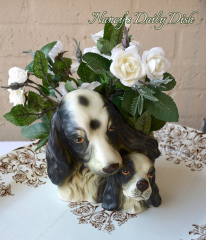 Vintage English Country Black & White Springer Spaniel Dog & Pup Figurine Planter / Flower Pot