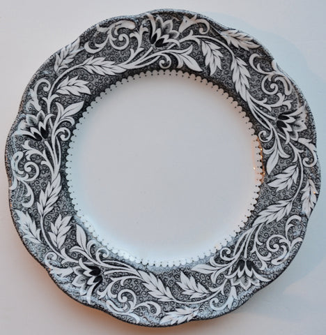 Black and White Ironstone Transferware Plate with Scrolled Leaf and Vine Border