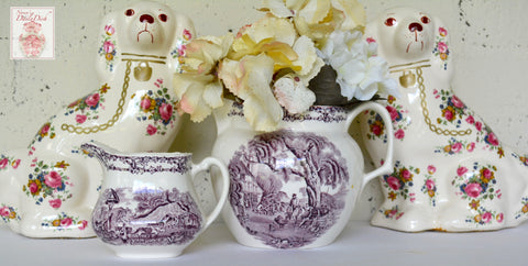 Royal Staffordshire Rural Scenes Purple Transferware Creamer Pitcher Farm Cattle Pigs Chickens
