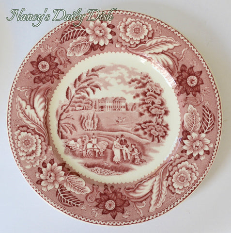 Vintage Red English Country Transferware Plate Woods Woodland Pastoral Scenery