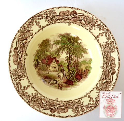"Rare 9"" Hunt Scene Cottage Brown Polychrome Transferware Rural Scenes Rimmed Soup Salad or Pasta Bowl AJ Wilkinson"