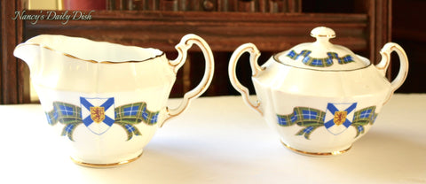 Vintage Blue Plaid Tartan w/ Lion Crest   Cream & Lidded Sugar Bowl Nova Scotia