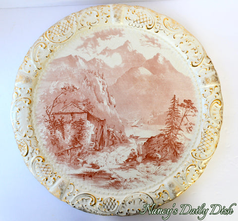 ENORMOUS Antique Red -dish / Brown Transferware Wall Plaque Charger Grindley Lake Lucerne