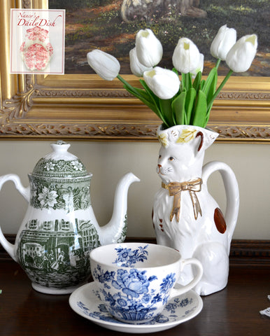 White & Brown Spotted English Staffordshire Toby Cat Figural Jug Pitcher / Vase  - English Country Decor