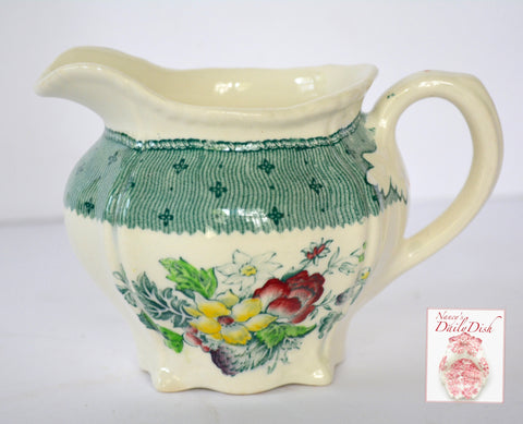 Vintage English China Teal Green Transferware Creamer Pitcher Floral Bouquet Roses Hand Painted Flowers Cottage