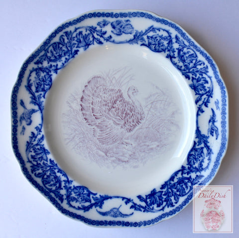 RARE Antique Bi Color Purple & Blue Transferware Staffordshire Thanksgiving Turkey Plate Royal Cauldon