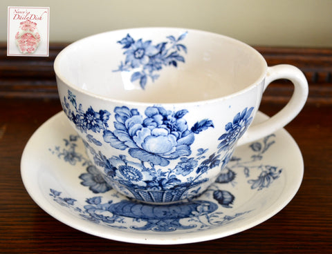 Blue & White English Transferware XL Joke Cup & Saucer Chartlotte Roses Royal Staffordshire