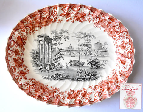 Stunning Large Bi Color Brick Red & Black Spode Copeland May Transferware Platter