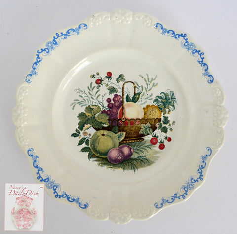 VERY RARE William Smith & Co ' WEDGeWOOD ' Blue Embossed Fruit Basket Transferware Plate