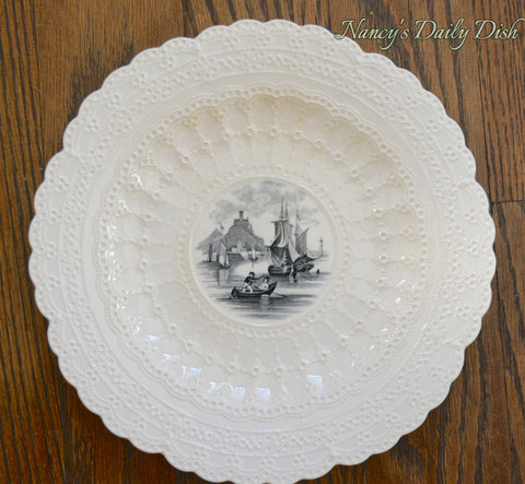 Vintage Spode Nautical Sailboat Ship Black & Cream Transferware Plate Jewel Lace Border