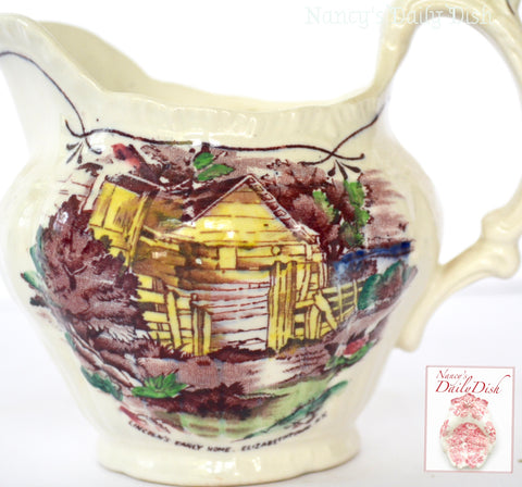 Purple Transferware Cream Pitcher Creamer Early American Scenes Lincoln's Home Hand Painted Booths