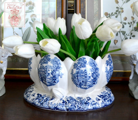 RARE Blue English Transferware Clarice Cliff Water Lily Pad Tulip Planter Staffordshire