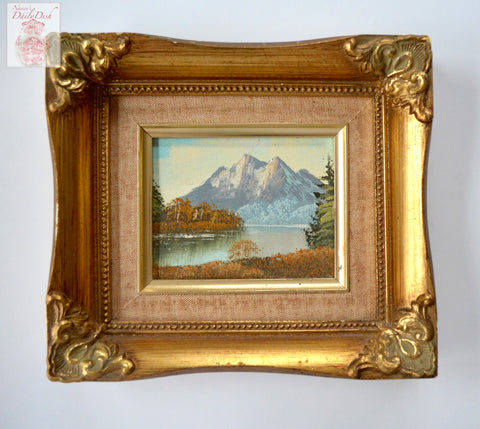 Vintage Mountain Landscape Oil Painting Lake River Trees Framed Linen and Gold Wood Frame