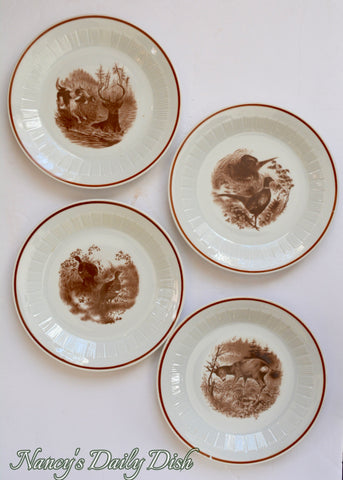 Set of 4 Vintage Bavarian Woodland Game Animal Bird Plates Deer Quail Hunt Dogs Pheasant