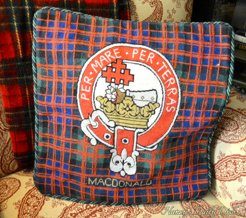Clan Macdonald Scottish Tartan Plaid Coat of Arms & Motto Wool Needlepoint Pillow Cover