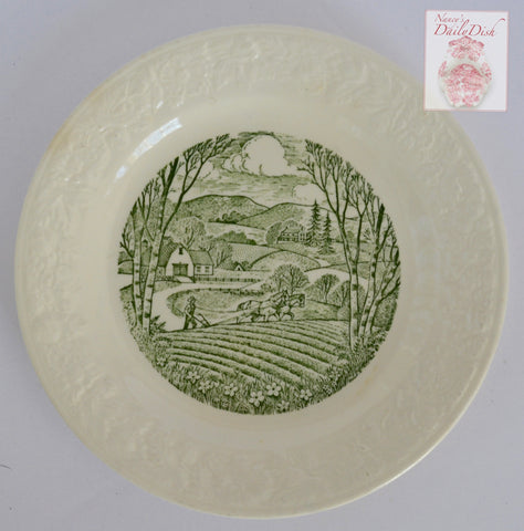 Green Transferware  Plate Relief Border Farming Ploughing the Field