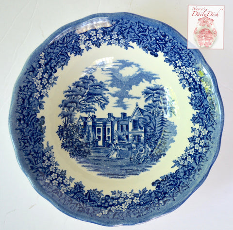 Vintage English Blue Toile Transferware Chequers Cereal / Salad Bowl Romantic England
