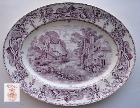 "16"" Purple Transferware Platter Rural Scenes Girl Gathering Water from a Stream Bee Skep"
