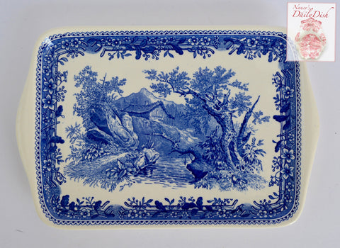 Blue Toile Transferware Small Handled Platter / Relish Tray  Mountain Cabin Overlooking Stream