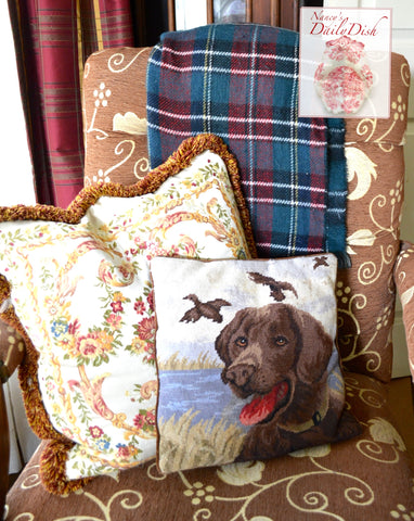 Vintage Needlepoint Chocolate Brown Labrador Retriever Hunt Dog Pillow & Cover