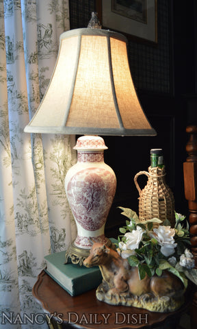 Antique English Transferware Lamp Coalport Pastoral Cottage Scenes Wired & Works - Maroon / Purple ish / Pink ish