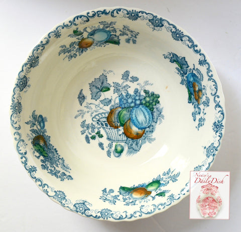 Poly Blue English Transferware Round Serving Bowl Masons Hand Painted Fruits in a Basket