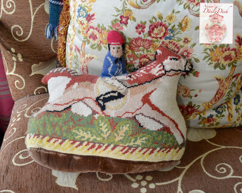 Vintage Needlepoint Jockey on Horse Equestrian Riding Pillow