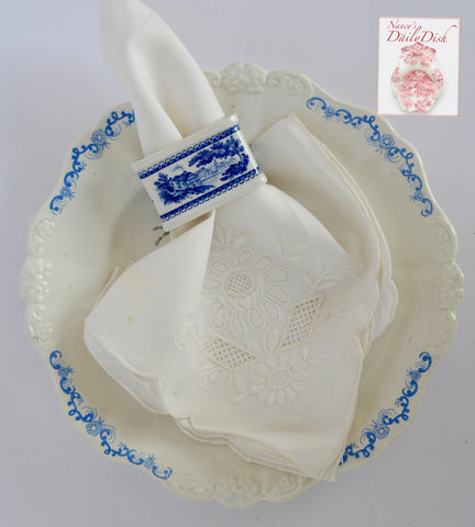 Villeroy & Boch Blue Transferware Napkin Ring Burgenland Cottage Flowers Roses Very Hard to Find