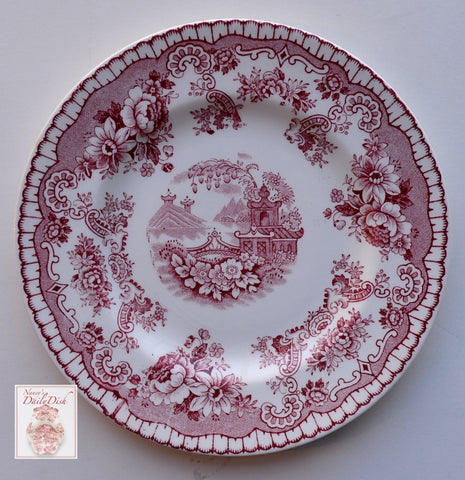 Antique Red Chinoiserie Transferware  Plate Footbridge Pagoda  Flowers Roses