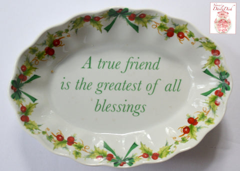 "Spode Red & Green Holly Miniature Platter Tray or Trinket Dish ""A TRUE FRIEND"" Mementos"