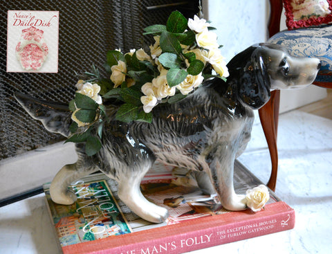 "16"" Large Vintage Figural Black / Gray English Spaniel / Setter Dog Figurine Planter Flower Pot"