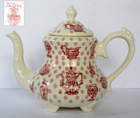Royal Staffordshire China Cabinet Toile Red Transferware Teapot Ginger Jar Tea Cup RARE