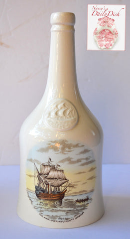 Landing of the Pilgrims / The Mayflower Spode Historical Staffordshire Decanter Bottle Brown Transferware Copeland