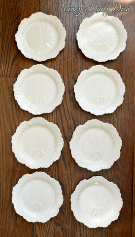 "Ivory Majolica Cabbage 8"" Plate Creamware Embossed Border Wedgwood Set of 8"