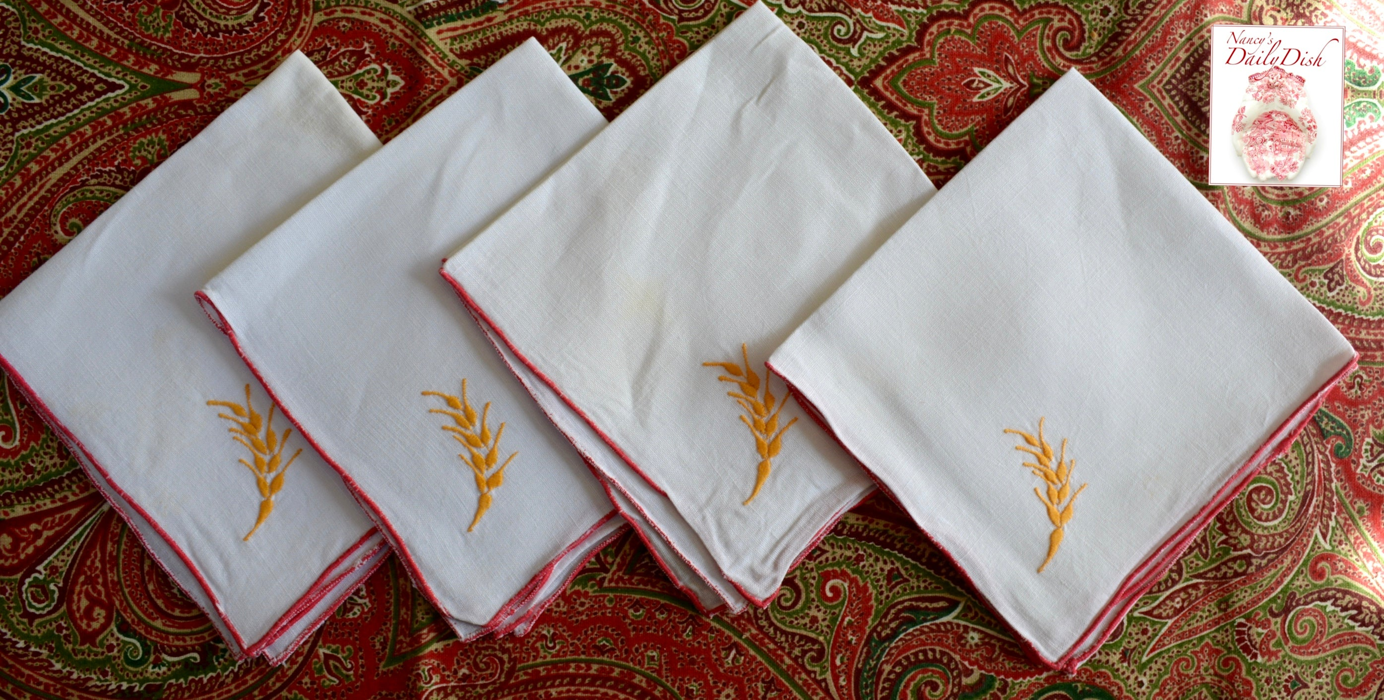 Set Of 4 Vintage Linen Blend Cloth Napkins Embroidered W Wheat Red Ye