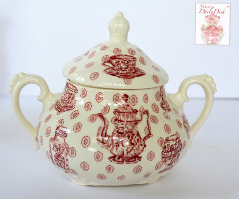Rare Royal Staffordshire China Cabinet Toile Red Transferware Sugar Bowl w/ Teapot Ginger Jar Tea Cup Pattern