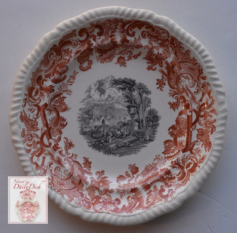 Rare Bi Color Transferware Plate Rust Red & Black Spode Copeland European Coastal Garden Music Scenes