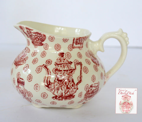 Rare Royal Staffordshire China Cabinet Toile Red Transferware Creamer w/ Teapot Ginger Jar Tea Cup Pattern